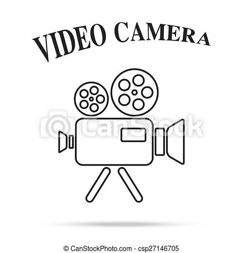 film, isolato, macchina fotografica, video, fondo, vendemmia, icona - csp27146705