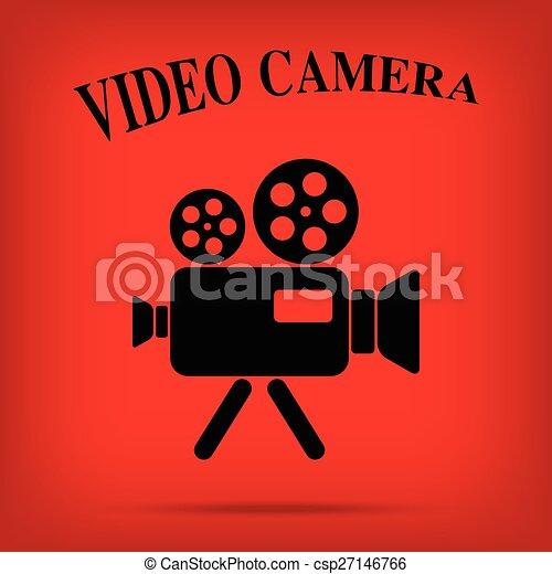film, isolato, macchina fotografica, video, fondo, vendemmia, icona - csp27146766