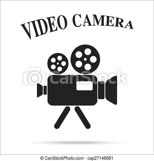 film, isolato, macchina fotografica, video, fondo, vendemmia, icona - csp27146681