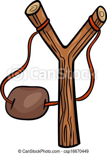 fionda, arte, cartone animato, illustrazione, clip - csp16670449