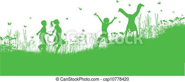 fiori, erba, gioco, bambini - csp10778420