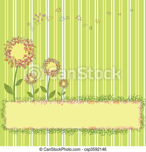 fiori primaverili, striscia verde, giallo - csp3592146