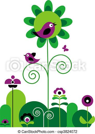 fiori, uccelli, farfalla, turbini, verde, viola - csp3824072