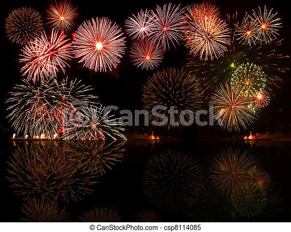 fireworks., set, e.g.2012, colorito, testo, oggetto, centro, tuo, buono, numeri, anno, o - csp8114085
