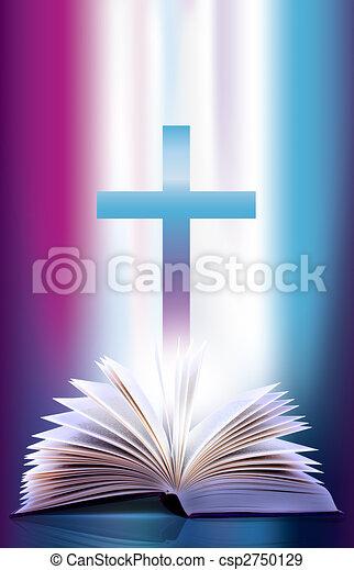 flicking, bibbia aperta, croce - csp2750129