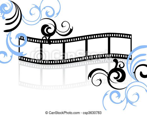 floreale, striscia, film - csp3630783