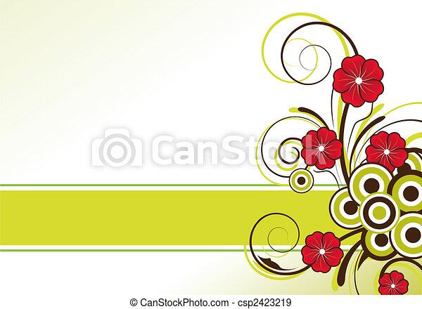 floreale, testo, disegno astratto, zona - csp2423219