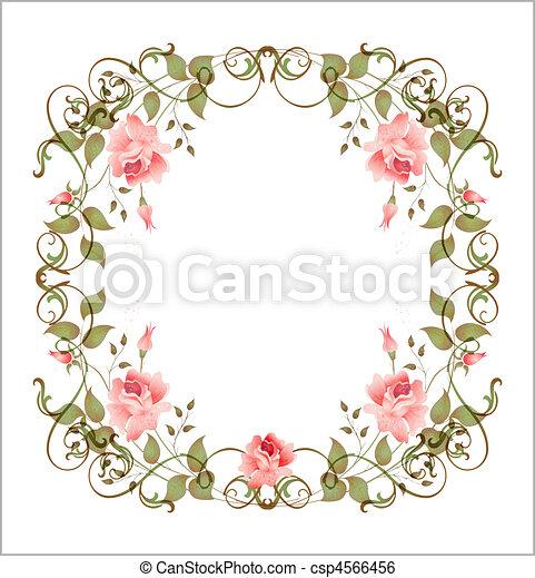 floreale, vendemmia, cornice - csp4566456