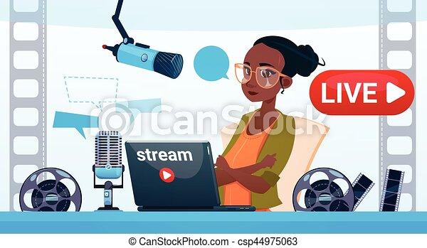 flusso, donna, linea, video, blogger, blogging, concetto, abbonarsi - csp44975063
