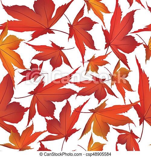 foglia, natura, foglie, pattern., seamless, autunno, fondo., cadere, floreale - csp48905584