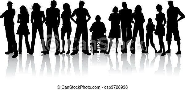 folla, grande, persone - csp3728938