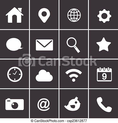 fondamentale, domanda, vettore, icone fotoricettore - csp23612877