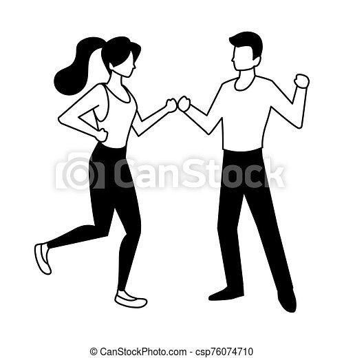 fondo, coppia, bianco, persone, ballo - csp76074710