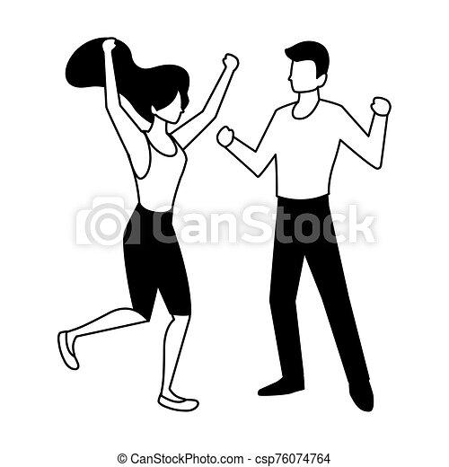 fondo, coppia, bianco, persone, ballo - csp76074764