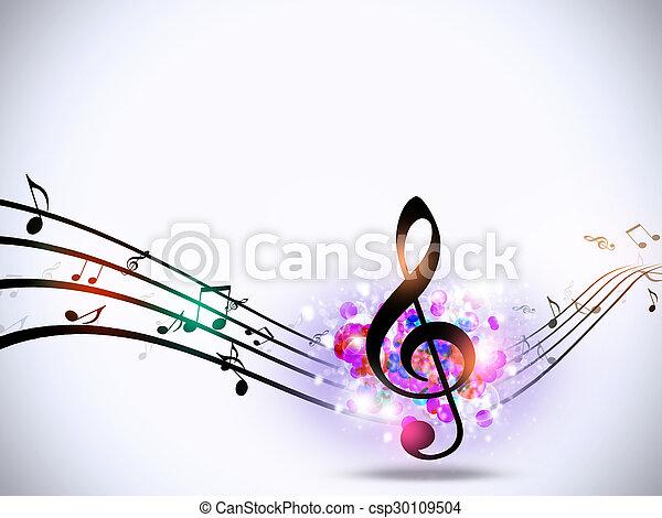 fondo, impaurito, note musica, luminoso - csp30109504