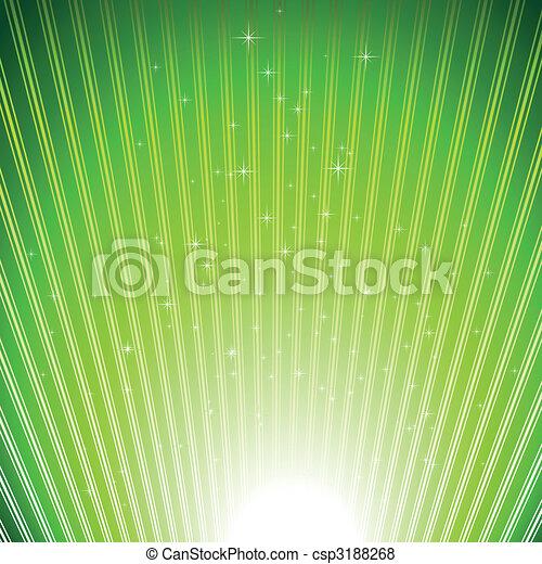 fondo, scoppio, sfavillante, stelle, spia verde - csp3188268
