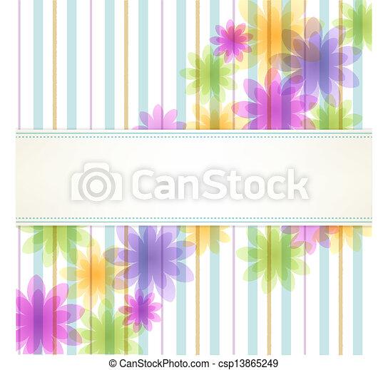 fondo, striscia, floreale - csp13865249