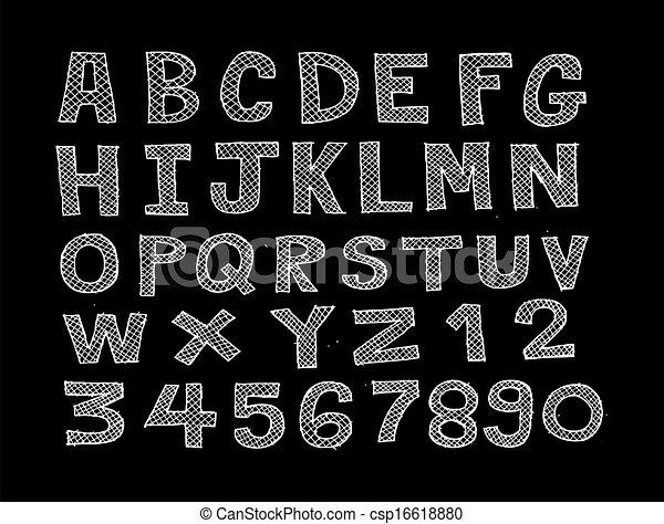 font, schizzo, disegno, linea, dra, mano - csp16618880