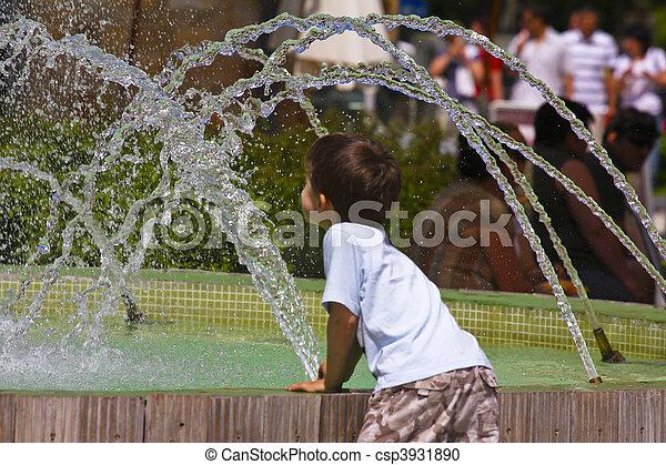 fontana acqua, gioco, capretto - csp3931890
