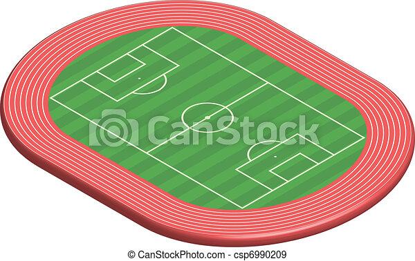 football, dimensionale, 3, pece, campo - csp6990209