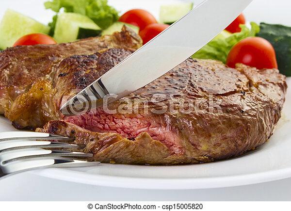 forchetta, bistecca, succoso, coltello - csp15005820