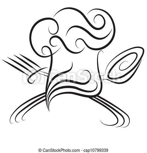 forchetta, chef, cucchiaio, cappello - csp10799339