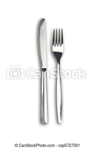 forchetta, percorsi, ritaglio, isolated., senza, included., ombre, coltello - csp5727301