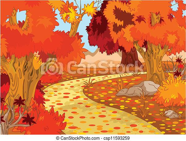 foresta, paesaggio autunno - csp11593259