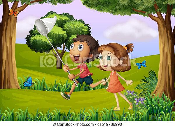 foresta, rete, bambini, due, gioco - csp19786990