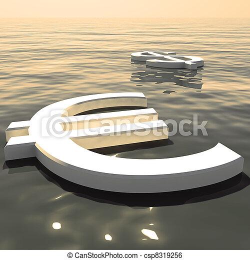 forex, esposizione, soldi, lontano, dollaro, andare, scambi, galleggiante, o, euro - csp8319256