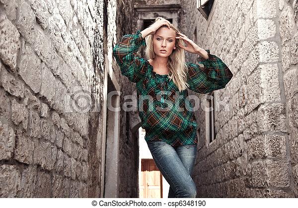 foto, stile, moda, giovane ragazza - csp6348190