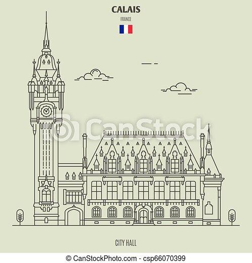 france., calais, punto di riferimento, municipio, icona - csp66070399