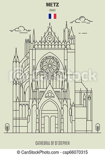france., cattedrale, punto di riferimento, metz, icona, st, stephen - csp66070315