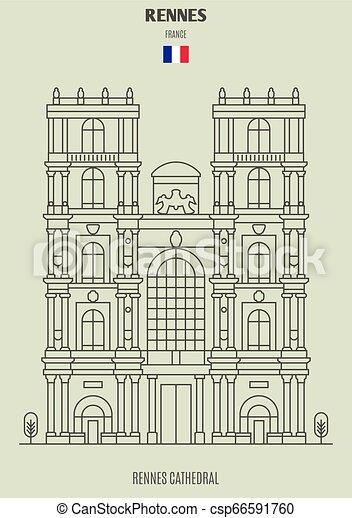 france., cattedrale, rennes, punto di riferimento, rennes, icona - csp66591760