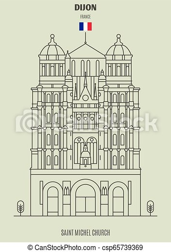 france., chiesa, punto di riferimento, michel, santo, icona, dijon - csp65739369
