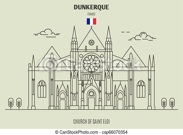 france., chiesa, punto di riferimento, dunkerque, eloi, santo, icona - csp66070354