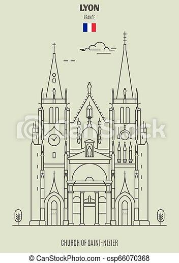 france., chiesa, punto di riferimento, saint-nizier, icona, lyon - csp66070368