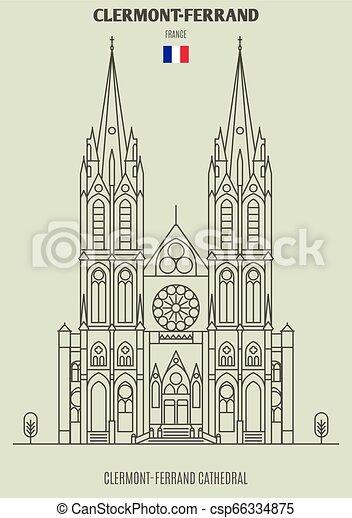 france., clermont-ferrand, punto di riferimento, icona, cattedrale - csp66334875