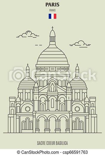 france., coeur sacre, punto di riferimento, basilica, icona, parigi - csp66591763