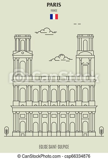 france., eglise, saint-sulpice, punto di riferimento, icona, parigi - csp66334876
