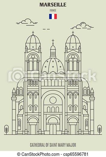 france., mary, cattedrale, marseille, punto di riferimento, maggiore, santo, icona - csp65596781