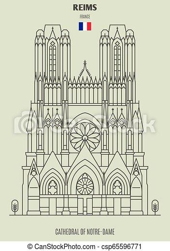 france., notre-dama, cattedrale, punto di riferimento, reims, icona - csp65596771