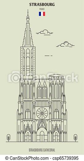 france., punto di riferimento, strasburgo, icona, cattedrale - csp65739395