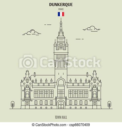 france., punto di riferimento, dunkerque, municipio, icona - csp66070409