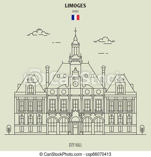france., punto di riferimento, limoges, municipio, icona - csp66070413