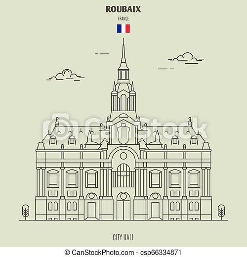 france., punto di riferimento, municipio, icona, roubaix - csp66334871