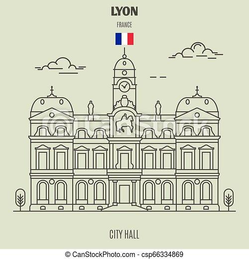 france., punto di riferimento, municipio, icona, lyon - csp66334869