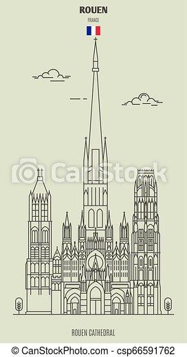 france., rouen, punto di riferimento, icona, cattedrale - csp66591762