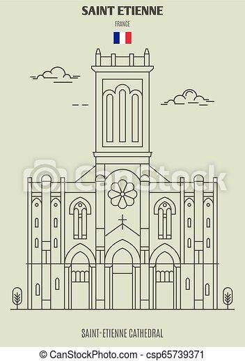 france., saint-etienne, cattedrale, punto di riferimento, etienne, santo, icona - csp65739371