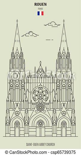 france., saint-ouen, chiesa, abbazia, punto di riferimento, icona, rouen - csp65739375